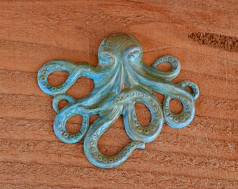 Hand Patina Brass Octopus Necklace Pendant, 1pc