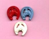 Vintage Plastic Realistic Buttons - Horses Inside Horseshoe - Set Of Three - 1950's