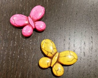 CLEARANCE !!! Hot Pink and Yellow Magnesite Butterfly Focals...2ct.