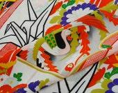 Vintage Japanese Kimono Fabric - Origami Crane and Phoenix