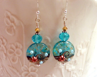 Aqua by the Sea Earrings, Beach Earrings, Aqua Blue Water, Fun Summer Drop Dangle