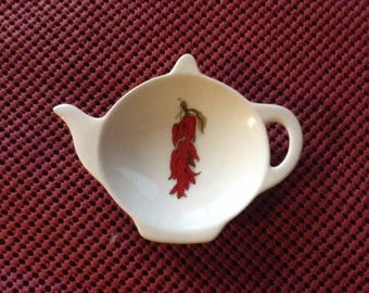 Ceramic Tea Bag Holder  Chili pepper 4.5 ""