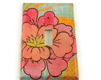 Light Switch Cover Wall Decor  Switch Plate  in  Pink Flower (212S)