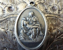 CLEARANCE Rare Vintage Italian Pieta Religious Catholic Medal, Jesus Christ & Blessed Mother Mary Virgin with Son Pray For Us Religious Holy