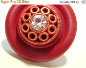 50% OFF SHOP SALE Red Stacked Statement Button Ring - Rhinestone Center - Adjustable