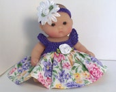 """Doll Clothes, Dress for 5"""" Berenguer Lots to Love baby.  Crochet by PaulineAnneCrochet"""