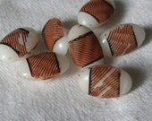 Set of 7 VINTAGE Small Paint Brown Striped Oval White Blue Glass BUTTONS