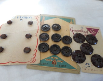 3 Sets of VINTAGE Brown Plastic BUTTONS