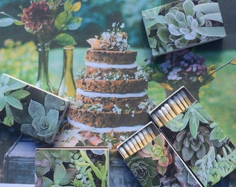 10 Succulents Green Lavender Pastel Matchbox Wedding Favors Succulent craft kraft paper Fern Ivy Grass Personalized Custom Sparkler Perfect