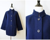 Vintage 70's Heavy Navy Blue Wool Button-Up Cardigan Sweater with Stand-up Collar and Bell Sleeves | Medium Large
