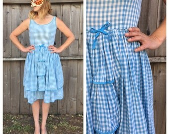 Vintage 50's Blue Gingham Tank Dress with Tiered Front Ruffle Skirt | Small