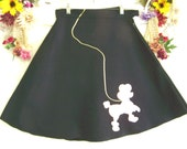 Vintage Sweet Black Felt Poodle Skirt Halloween Time Size Small
