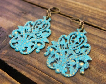 Garden Fairy, Western Cowgirl Southwestern Boho Teal Filigree Earrings- Filigree Earrings- Hand Painted Earrings- Distressed Earrings-