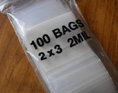 Valentines Day Sale 100 Pack White Block Zip Top Poly Pags 2 x 3 Inch Size Great for Beads,collectibles,stamps, etc.