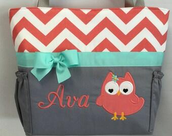 Coral CHEVRON  ... Olivia OWL .. Diaper Bag .. Appliqué  ... Bottle POCKETS ..  Personalized Free