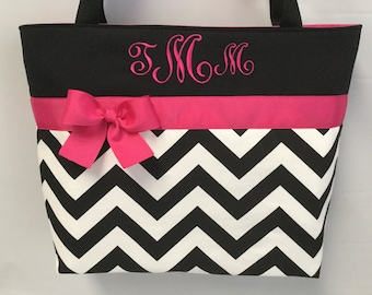 Black Chevron ... Hot PINK ... Tote .. Personalized ....  Monogramming FREE