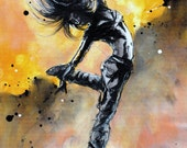 Ink painting art on canvas 20x30cm - modern dancer ballerina - bright yellow
