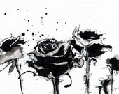 Ink drawing on canvas A4 (20x30cm) - black and white roses