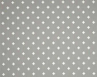 Mini Swiss Cross Plus Sign Storm and White - Premier Prints Mini Swiss Cross Storm White - Yardage