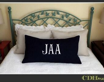 King Shams - JUMBO Beans Font Monogrammed Pillow Sham - Set of Two