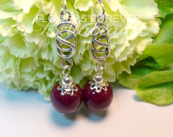Memorial Jewelry,Remembrance Jewelry,Funeral Flowers onto Jewelry,Custom Made Memory Jewelry,Memorial Beads,Love Knot Earrings