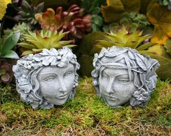 Fairy Head Planters - Concrete Face Pot for Succulents - Small Plant Pots - Tea Light Holders - Outdoor Garden Decor