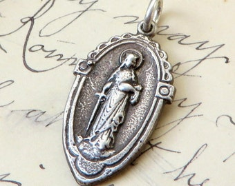 St Dymphna Medal - Patron of mental Illness - Antique Reproduction