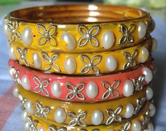 Yellow Enamal Churi Bangles with a Pink Surprise - from Old India