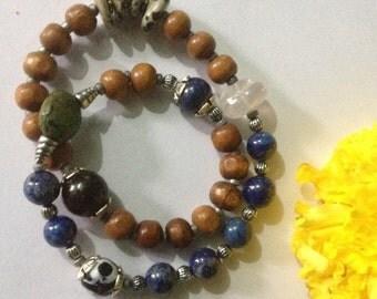Psychic Protector - Lapis Lazuli & Sandalwood Infinity Yoga Bracelet