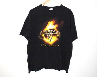 Van Halen band Tshirt black paper thin vintage rock tee medium
