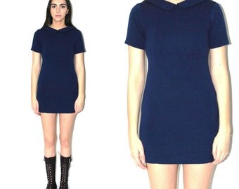 vintage 1970s MOD dress navy blue WOOL retro peter pan collar mini dress small