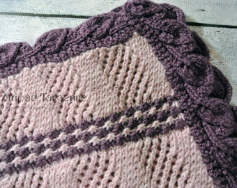 Pink and Purple Daisy Lattice Hand Knit Baby Blanket