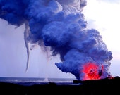 Lava Explosion with Water Spout - Nature Photography Big Island Hawaii Kilauea Volcano - Canvas Giclee Fine Art Photograph - Made in Hawaii