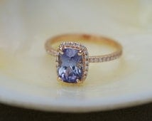 Rose gold sapphire ring. 2.13ct Blue violet sapphire diamond ring 14k rose gold cushion engagement ring