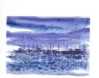 Harbor At Night  5x7 nautical painting  Jim Smeltz