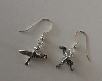 Sterling Silver 3D SEAGULL Earrings  - French Earwires - Beach, Seashore, Bird