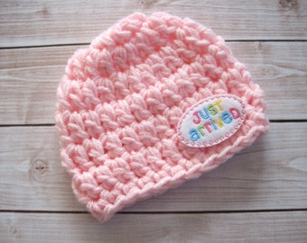 Crochet Baby Girl Beanie, Just Arrived Baby Hat, Pink Newborn Girl Hat, Infant Homecoming Hat, Chunky Baby Girl Hat, Newborn Girl Photo Prop