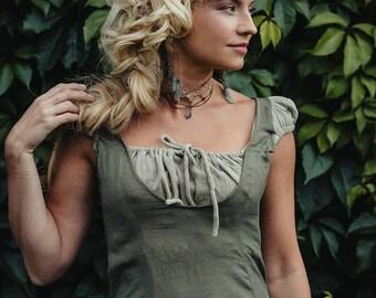 ESMERALDA LINEN DRESS - Boho Bohemian Hippie Romantic Summer Prom Gypsy Shabby chic Mori Wedding Bride Witch Fairy Ruffle - Sage green