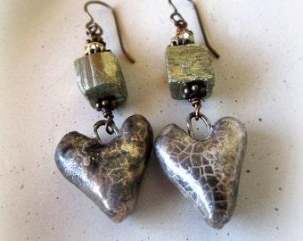 Pyrite Gemstone and Glazed Heart Earrings