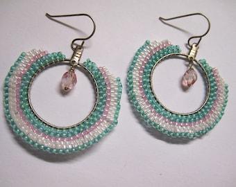 Shades of Pastel Elegant and Funky Hoop Boho Dangle Hoop Earrings E171