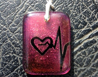 Heartbeat - Custom Dicroic Glass Pendant - Permenant Drilled Sterling Silver Setting .925