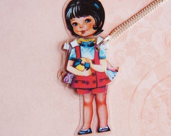 Cherry Laminated Paper Doll Necklace