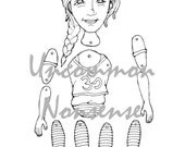 Yoga Girl 3. dance, ballet, jointed articulated paper doll puppet coloring page, download