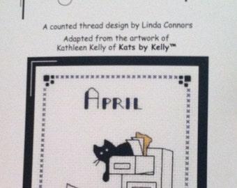 Office Temp black kitty cross stitch pattern
