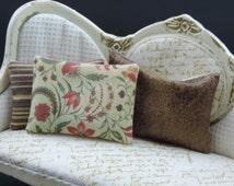 1:12 scale miniature dollhouse pillow  Katie Arthur shabby french 44R