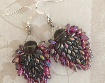 Gray and Pink Magatama-Superduo Earrings with Sterling silver earwires