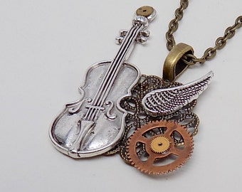 Steampunk jewelry violin necklace pendant.