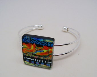 Dichroic jewelry cuff bracelet