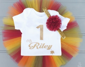 Fall First Birthday Outfit Girl, Fall Cake Smash Outfit Girl, Personalized First Birthday Outfit, 1st Birthday Outfit Girl, Baby Headband