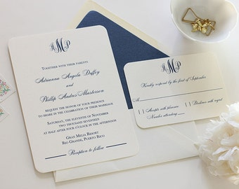 Elegant Monogram Wedding Invitation, Navy Wedding Invitation, Classic Wedding Invitation, Belly Band (Free Shipping!)